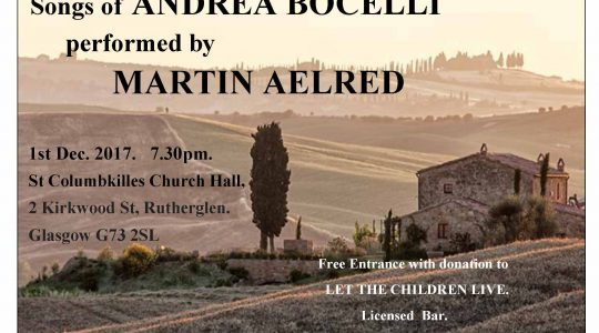 Songs of Andrea Bocelli sung by Martin Aelred