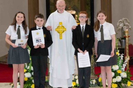 St Columbkille's pupils give thanks for Fr Pat
